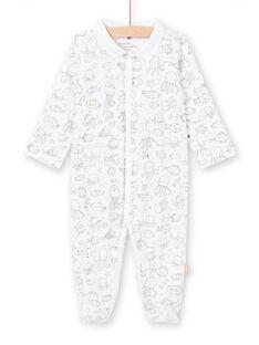 Weiß und grau Strampler mit Meerestieren Druck für Baby Junge LOU2GRE2 / 21SF04I1GRE000