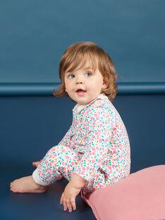 Baby Mädchen weiß und rosa Blumendruck Strampler MEFIGREFLE / 21WH1334GRE001
