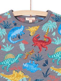 Graues T-Shirt für Jungen mit Dinosaurier-Aufdruck MOPATI3 / 21W902H1TMCJ913