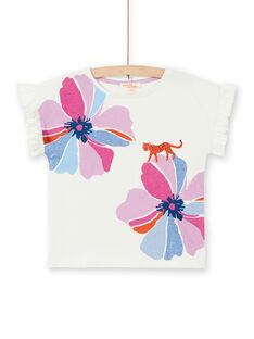 Ökrün-rosa T-Shirt mit Blumen- und Leopardenprint in Baumwolle LABLETI / 21S901J1TMC001