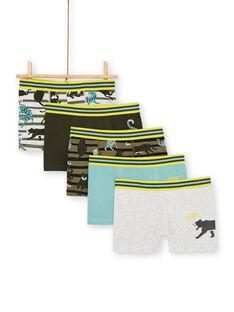 5er-Pack khaki, blau, gelb und grau Boxershorts Junge Kind LEGOBOXSEM2 / 21SH1224BOXJ922