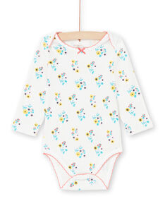 Baby Mädchen Ecru und Türkis Blumendruck Bodysuit MEFIBODAOP / 21WH13B4BDL001