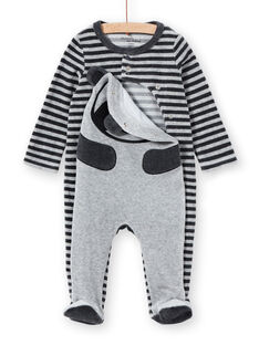 Gestreifter Samt-Baby-Strampler für Jungen mit Panda-Motiv LEGAGREPAN / 21SH1451GREJ922