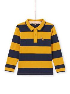 Gelb und marineblau gestreiftes Poloshirt für Jungen MOJOPOL5 / 21W90213POL113