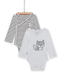 2er-Set langärmelige Bodys mit Eichhörnchen-Muster für Baby-Mädchen MOU2BOD3 / 21WF05D1BOD001