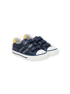 Turnschuhe navy blau und gelb Kind Junge JGBASLIAGM / 20SK36Y1D3F070