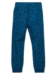 Dunkeltürkise Hose für Jungen, an den Knöcheln verengt, mit Aufdruck JOBOPAN / 20S902H1PANC219