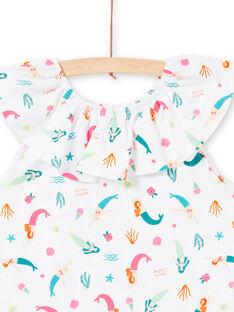 Meerjungfrauen und Fantasie bedrucktes T-Shirt mit gerafftem Kragen LABONTI1 / 21S901W4TMC000