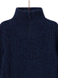 Blauer Pullover für Jungen mit hohem Halsausschnitt und Traktor-Stickerei MOCOPUL / 21W902L1PUL219