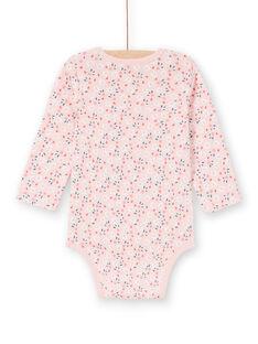 Rosafarbener langärmeliger Mädchen-Body mit Blumendruck LEFIBODPLU / 21SH132BBDLD329