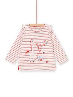 Lurex® Baby Girl T-Shirt mit roten und weißen Streifen LICANTEE / 21SG09M1TML001