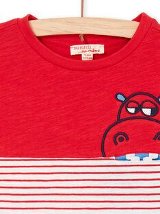Rot und blau gestreiftes T-shirt Kind Junge LOVITI5 / 21S902U6TMC505