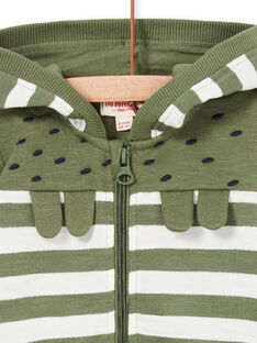 Khaki und weiß gestreifter Baby-Jungen-Kapuzenpullover LUVERGIL / 21SG10Q1GIL604