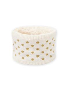 Baby Mädchen ecru Snood mit goldenen Polka Dots MYIKASNOO / 21WI0951SNO001