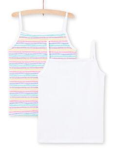Set aus 2 sortierten weißen und mehrfarbigen Tanktops für Baby Mädchen MEFADELIC / 21WH11B1HLI000