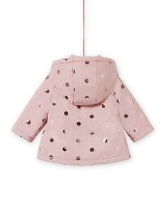 Baby Mädchen rosa Regenmantel mit goldenen Polka Dots MIGOIMP / 21WG0951IMPD332