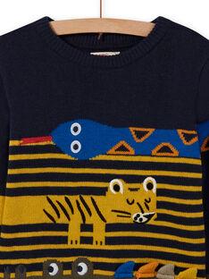 Nachtblauer Pullover mit Tieranimationen für Jungen MOKAPUL / 21W902I1PUL705