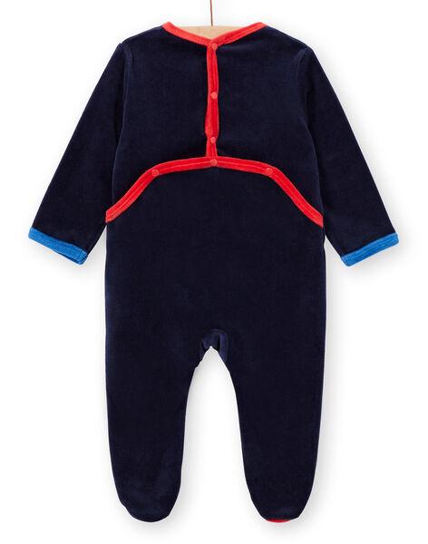 Marineblauer Samt-Schlafanzug für Baby-Jungen mit Weltraum-Motiven LEGAGRESPA / 21SH1452GRE713