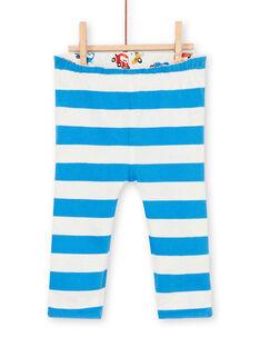 Reversible Leggings weiß und blau Baby Junge Auto drucken LUHAPAN2 / 21SG10X2PAN001