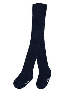 Marineblaue Baby-Strumpfhose für Mädchen aus gerippter Baumwolle JYIESCOL2 / 20SI0963COL070