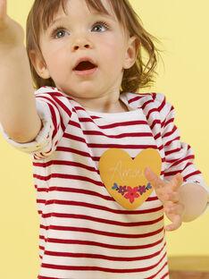 Weißes und rotes Wende-T-Shirt für Baby-Mädchen MIMIXTEE / 21WG09J1TML001